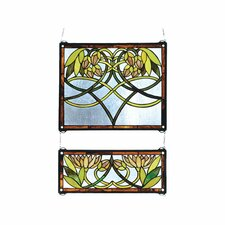 2 Piece Waterlily Stained Glass Window