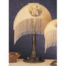 <strong>Meyda Tiffany</strong> Reverse Painted Roses Fabric with Fringe Accent Table Lamp