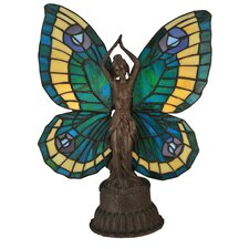 "Butterfly 17"" H Tiffany Art Glass Animals Lady Accent Table Lamp"