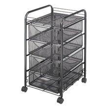 <strong>Safco</strong> Onyx Mesh Mobile Cart with Four Drawers in Black