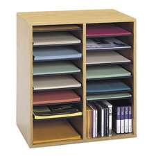 Wood Adjustable Literature Organiser 16 Compartment in Medium Oak