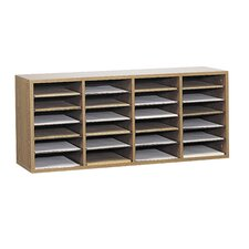 Wood Adjustable Literature Organiser 24 Compartment in Medium Oak
