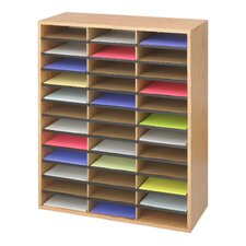 Literature Organiser 36 Compartment in Medium Oak