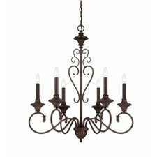 6 Light Chandelier in Burnt Umber
