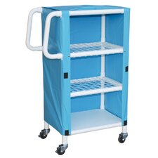3 Shelves Open Linen Cart with Cover and Optional Accessory Bags