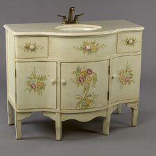 "44"" Painted Floral Style Bathroom Vanity Set"