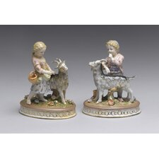 <strong>AA Importing</strong> 2 Piece Children with Goat Figurine Set
