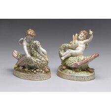 2 Piece Cherub with Goose Figurine Set