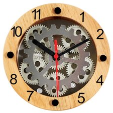 Wooden Moving Gear Clock with Red Second Hand