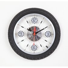 "16"" x 16"" Bike Wall Clock with Rubber Tire"