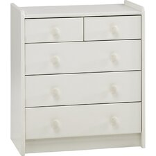 Kids Two Over Three Chest of Drawers in White