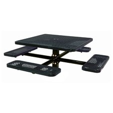 "<strong>Ultra Play</strong> 46"" Single Pedestal Square Inground Picnic Table with Diamond Pattern"