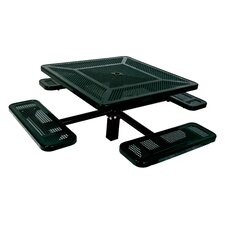 <strong>Ultra Play</strong> Single Pedestal Inground Square Picnic Table with Perforated Pattern