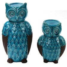 2 Piece Ceramic Owl Candlestick Set