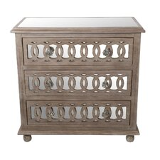 3 Drawer Mirrored Accent Chest