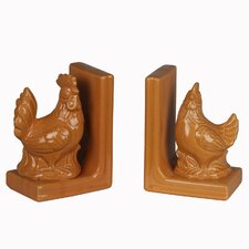 Ceramic Chicken Book End (Set of 2)