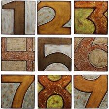 Wood Numbered 9 Piece Textual Art Set