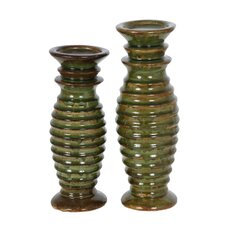 2 Piece Cyclone Ceramic Candlestick Set