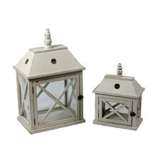 2 Piece Wooden Lantern Set
