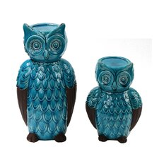 2 Piece Ceramic Owl Candlestick Set