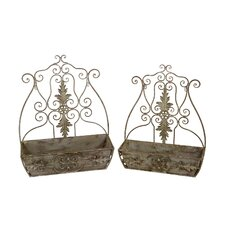 2 Piece Iron Wall Containers Set