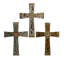3 Piece Antique Wood Cross Sculpture