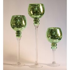 3 Piece Mercury Glass Stem Vase Set