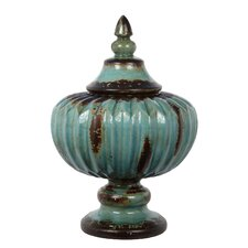 Ceramic Ribbed Decorative Urn