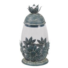 L Star Leaf Metal and Glass Jar