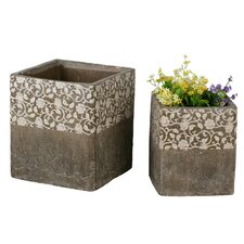 2 Piece Square Ceramic Floral Pot Planter Set