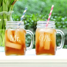 Mr. & Mrs. Old Fashioned Drinking Mason Jar (Set of 2)