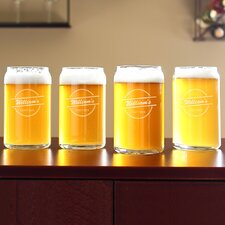 Personalized Home Brew Can Glass (Set of 4)