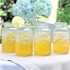 Wedding Party Mason Jar (Set of 4)