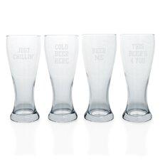 4 Piece Cold Beer Here Pilsner Glass Set (Set of 4)