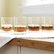 Circle Initial Drinking Glass (Set of 4)