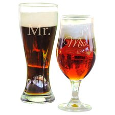 2 Piece His and Hers Pilsner Glass Set