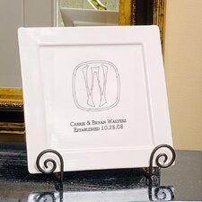Your Initial Square Platter and Easel Set