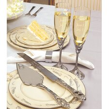 4 Piece Champagne Flutes and Cake Server Set in Satin