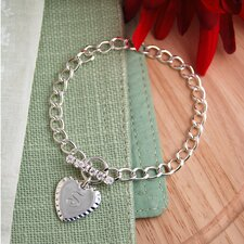 <strong>Cathys Concepts</strong> Personalized Sterling Silver Heart Charm Bracelet