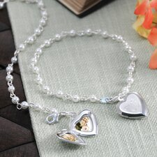 Personalized Pearl Bracelet with Locket Charm