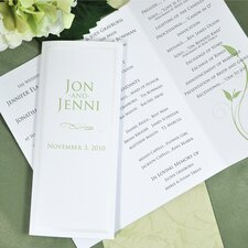 Pearl Border Tri Fold Program Paper in White