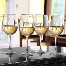 Circle Initial White Wine Glasses (Set of 4)