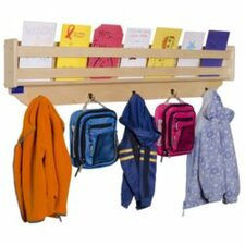 "48"" Wall Mount Coat Rack with Paper Storage"