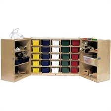 25-Tray Fold and Lock Mobile Storage Unit