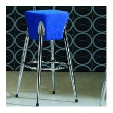 Space Bar Stool with Blue Seat in Chrome