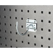 LocHook 3-3/4 In. Curved 3-3/32 In. I.D. Zinc Plated Steel Pegboard Hook for LocBoard, 5 Pack