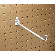 DuraHook 6 In. Single Rod 90 Degree Bend 1/4 In. Dia. Zinc Plated Steel Pegboard Hook for DuraBoard, 10 Pack