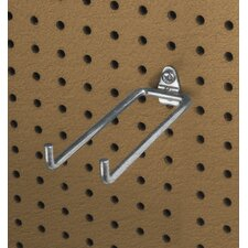 DuraHook 5-3/4 In. Double Rod 80 Degree Bend 1/4 In. Dia. Zinc Plated Steel Pegboard Hook for DuraBoard, 10 Pack