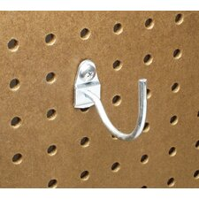 DuraHook 2-1/4 In. Curved 2 In. I.D. Zinc Plated Steel Pegboard Hook for DuraBoard, 10 Pack