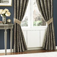 Hannah Polyester Rod Pocket Drape Panel  with Tiebacks (Set of 2)